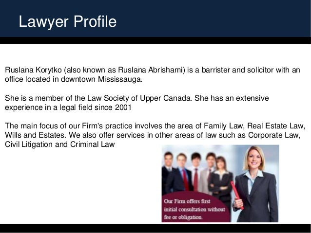Lawyer Profile Ruslana Korytko (also known as Ruslana Abrishami) is a barrister and solicitor with an office located in do...