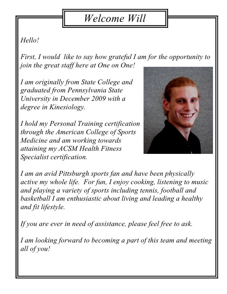 Welcome Will                          Sunner! Hello!  First, I would like to say how grateful I am for the opportunity to ...
