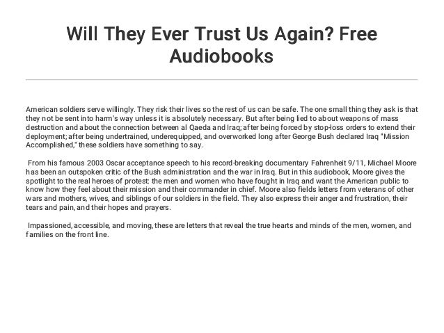 Will They Ever Trust Us Again Free Audiobooks