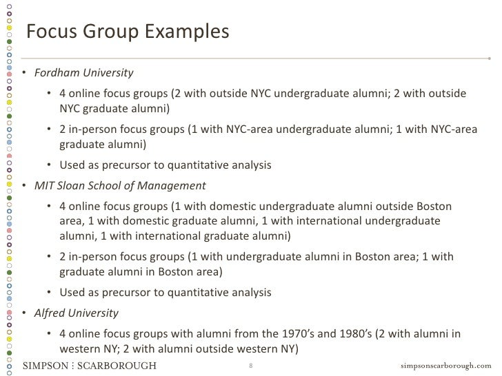 focus groups essay Focus groups can provide rich, thick descriptions of experiences, attitudes, and opinions shared by a group of individuals who have in common a shared experience about the phenomena you are studying review the resources in the course and online about the challenges, advantages, and disadvantages of using focus groups as part your.