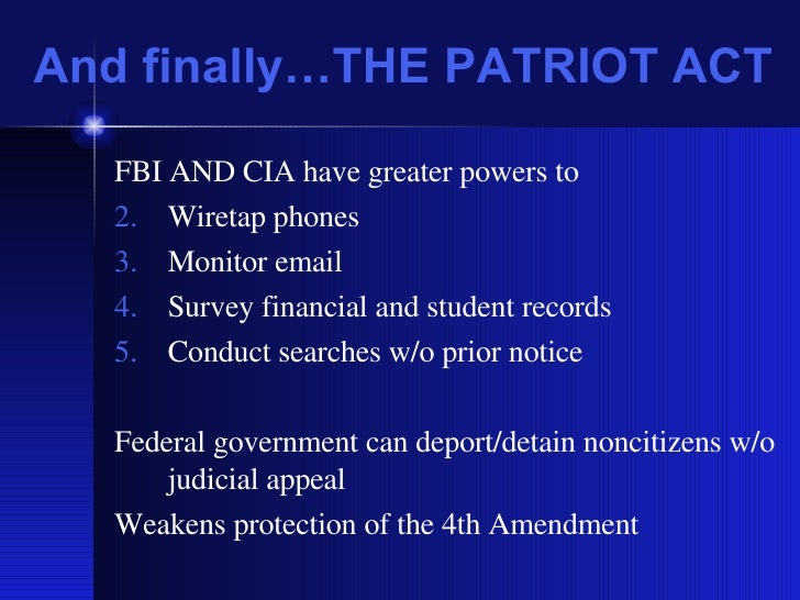patriot act violates civil liberties essay The patriot act must not be used to violate the rights of law-abiding citizens very broad patriot act collection has been a and civil liberties.