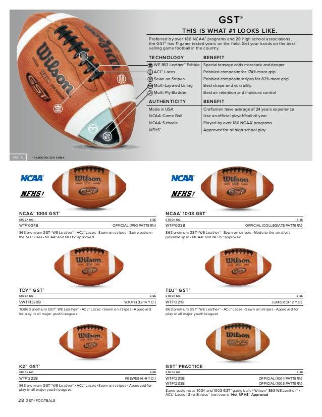 American Football Size Chart