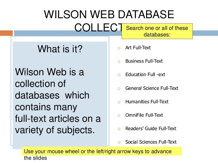 WILSON WEB DATABASE COLLECTION<br />Art Full-Text<br />Business Full-Text<br />Education Full -ext<br />General Science F...
