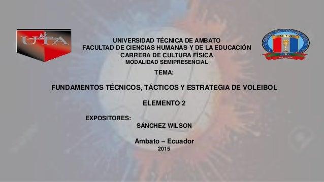 TEMA: FUNDAMENTOS TÉCNICOS, TÁCTICOS Y ESTRATEGIA DE VOLEIBOL ELEMENTO 2 EXPOSITORES: SÁNCHEZ WILSON Ambato – Ecuador 2015...