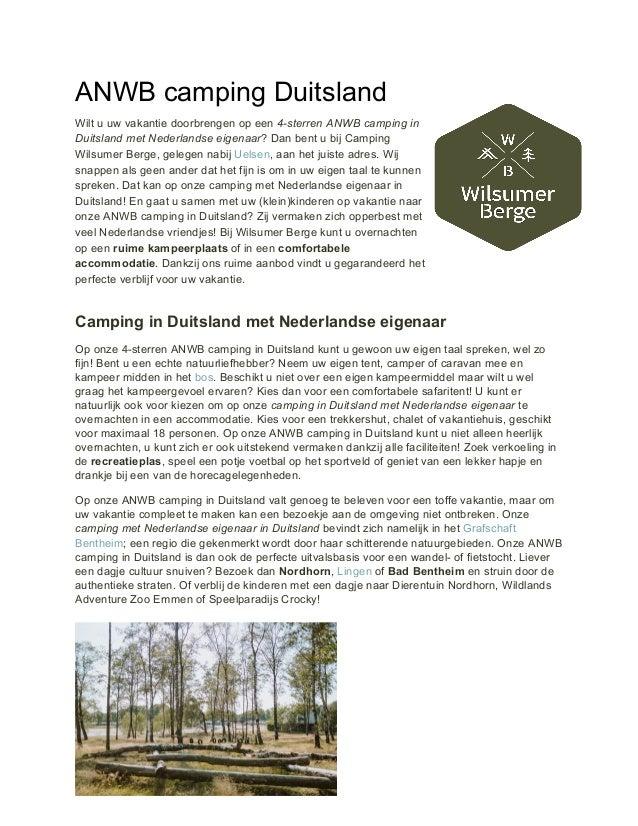 ANWB camping Duitsland Wilt u uw vakantie doorbrengen op een 4-sterren ANWB camping in Duitsland met Nederlandse eigenaar...