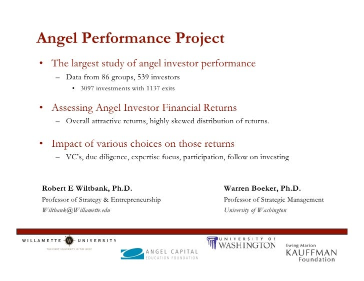 Angel Performance Project • The largest study of angel investor performance     – Data from 86 groups, 539 investors      ...