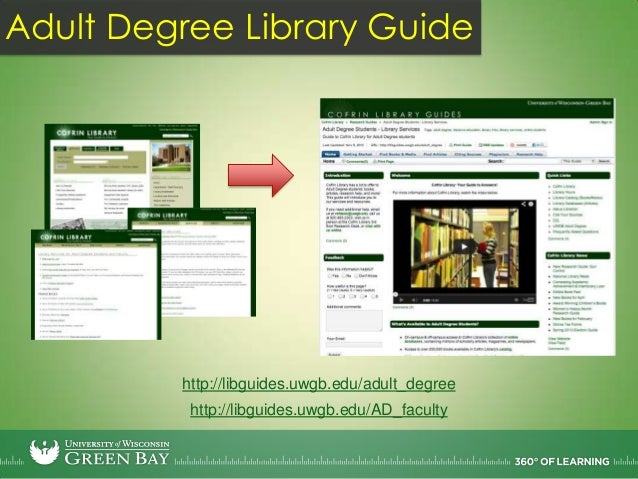 Adult Degree Library Guide535 viewsFall 2011613 viewsSpring 20121856 viewsFall 20121627 viewsSpring 2013 (to date)