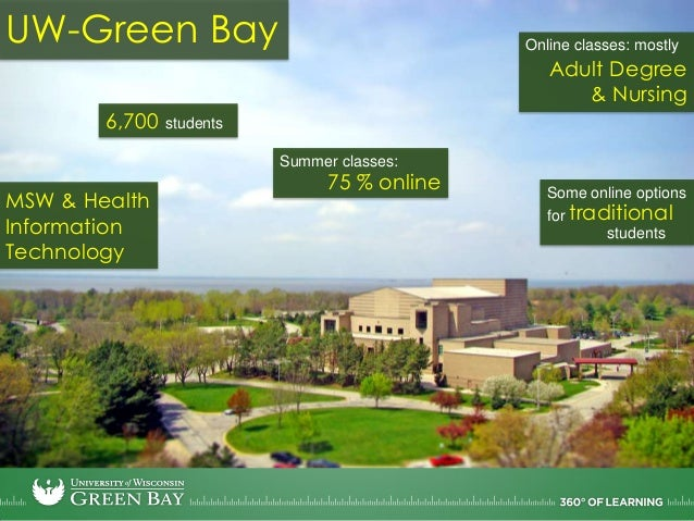 UW-Green Bay6,700 studentsAdult Degree& NursingOnline classes: mostlyMSW & HealthInformationTechnology75 % onlineSummer cl...