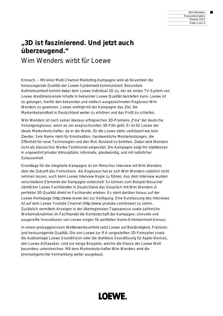 Wim Wenders                                                                                         Presseinformation     ...