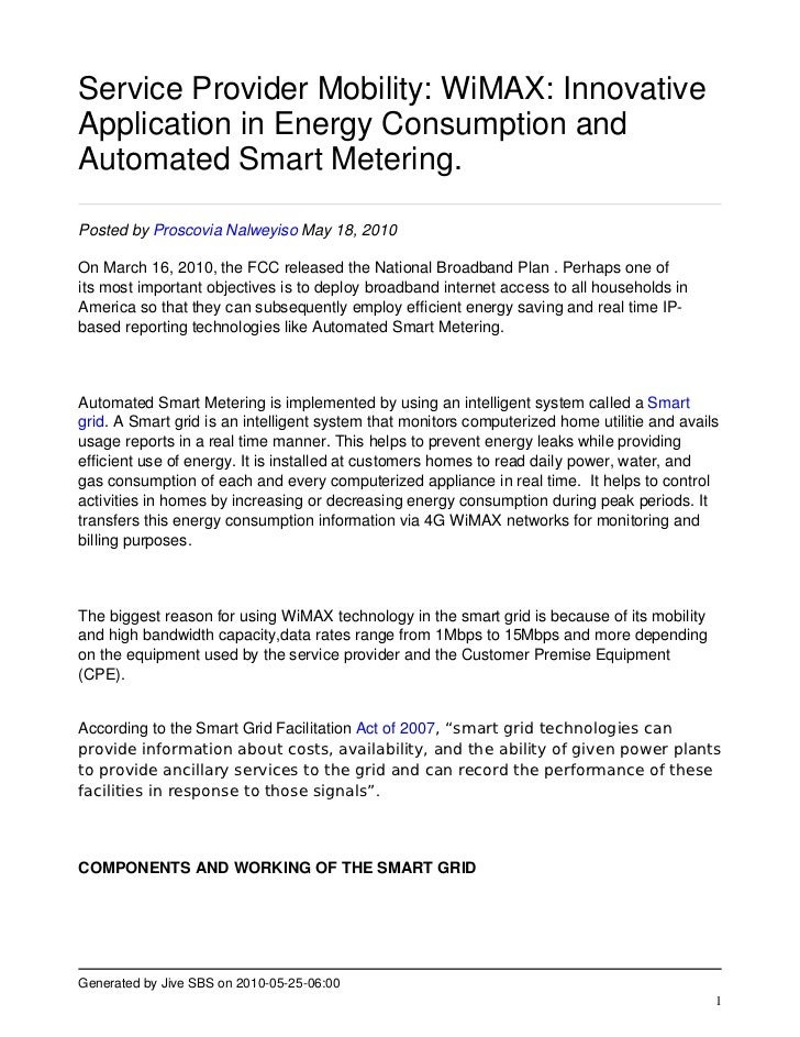 Service Provider Mobility: WiMAX: Innovative Application in Energy Consumption and Automated Smart Metering.  Posted by Pr...