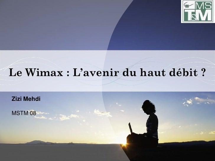 Le Wimax : L'avenir du haut débit ?  Zizi Mehdi  MSTM 08