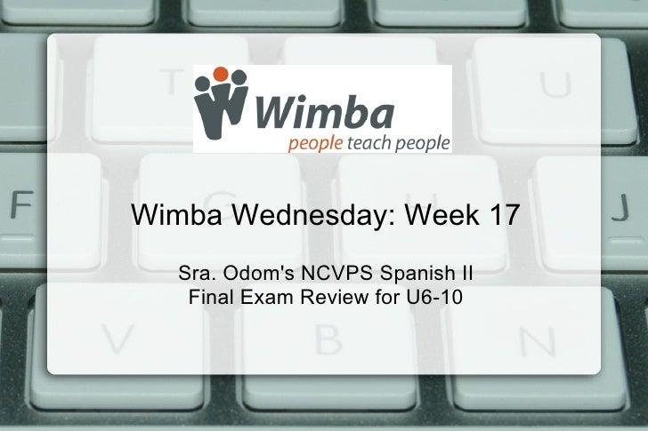 Wimba Wednesday: Week 17  Sra. Odoms NCVPS Spanish II   Final Exam Review for U6-10