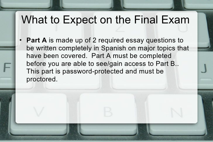 spanish 2 final essay Start studying spanish 2 final essay learn vocabulary, terms, and more with flashcards, games, and other study tools.