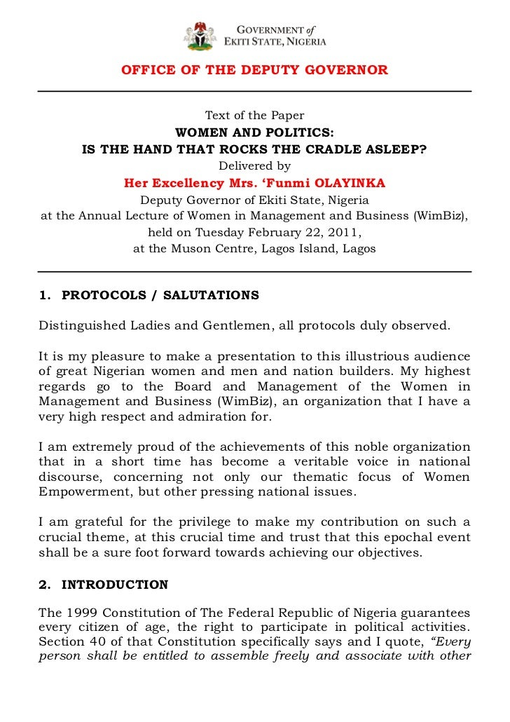 OFFICE OF THE DEPUTY GOVERNOR                           Text of the Paper                   WOMEN AND POLITICS:       IS T...