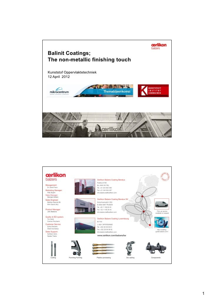 Balinit Coatings;The non-metallic finishing touchKunststof Oppervlaktetechniek12 April 2012                               ...