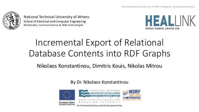 Incremental Export of Relational Database Contents into RDF Graphs Nikolaos Konstantinou, Dimitris Kouis, Nikolas Mitrou B...