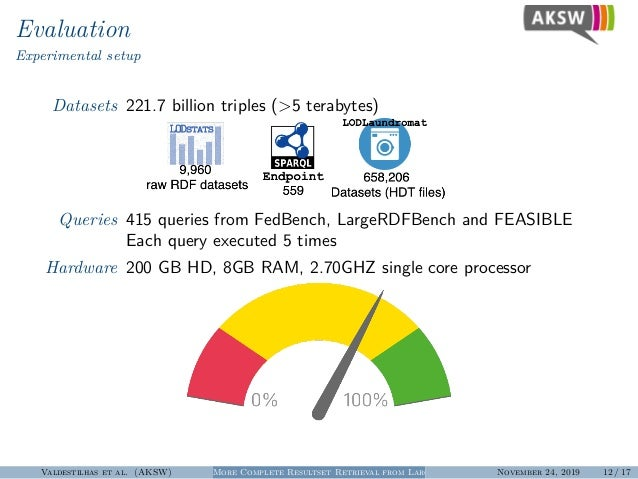 Evaluation Experimental setup Datasets 221.7 billion triples (>5 terabytes) Queries 415 queries from FedBench, LargeRDFBen...