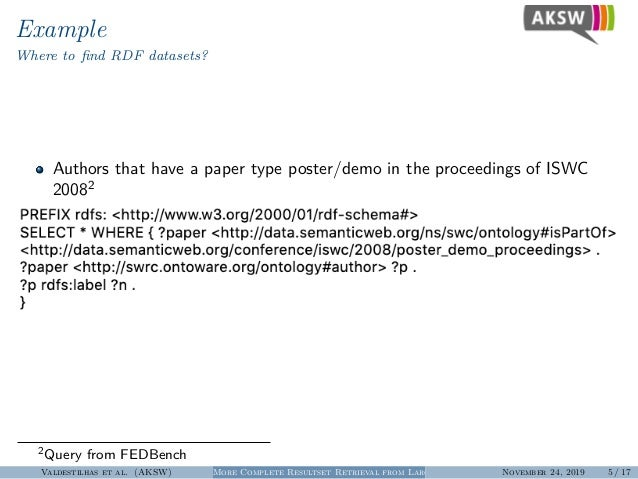 Example Where to find RDF datasets? Authors that have a paper type poster/demo in the proceedings of ISWC 20082 2Query from...