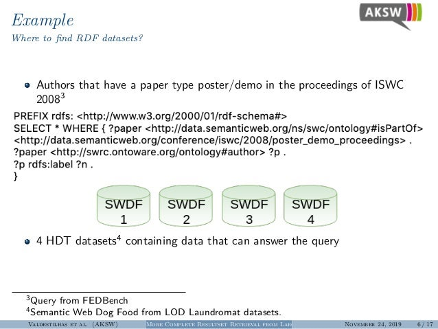 Example Where to find RDF datasets? Authors that have a paper type poster/demo in the proceedings of ISWC 20083 4 HDT datas...
