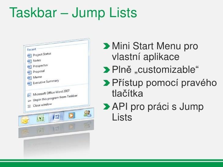 Taskbar – Jump Lists                         Pinned category     Destinations                        Known categories     ...
