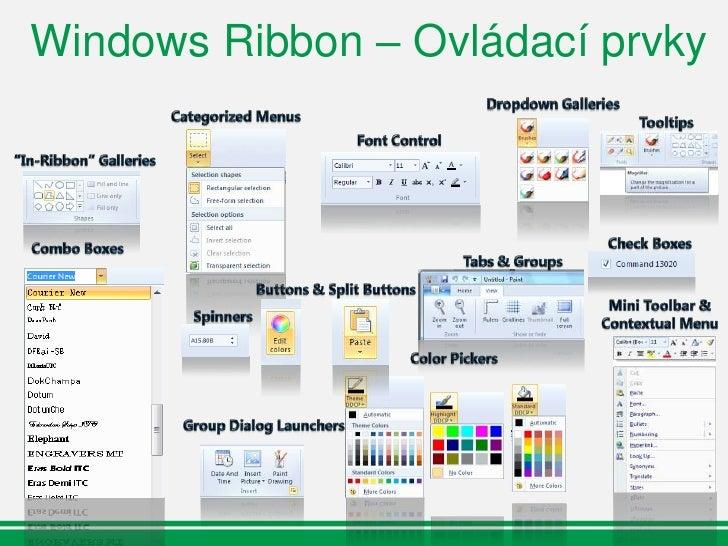 Scenic Ribbon API Architektura  Model View Controller  Podpora Markupu               Windows Scenic Ribbon                ...