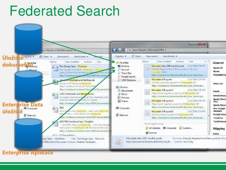 Federated Search  Není potřeba žádný kód na straně  klienta  Libovolná serverová platforma  Vychází ze standardů    OpenSe...