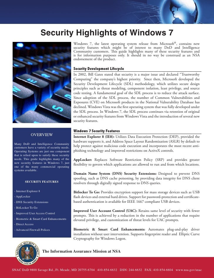 Security Highlights of Windows 7                                                 Windows 7, the latest operating system re...