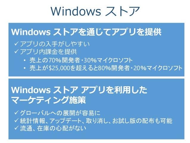 Windows ストア  アプリの入手がしやすい  アプリ内課金を提供 • 売上の70%開発者・30%マイクロソフト • 売上が$25,000を超えると80%開発者・20%マイクロソフト  グローバルへの展開が容易に  統計情報、アップ...