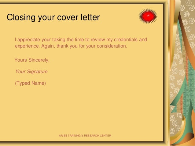 cover letter thank you for your consideration