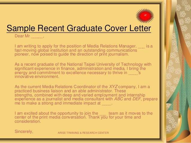 ARISE TRAINING U0026 RESEARCH CENTER; 20. Sample Recent Graduate Cover Letter  ...