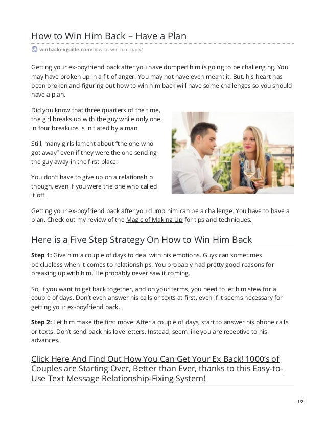 How to Win Him Back – Have a Plan