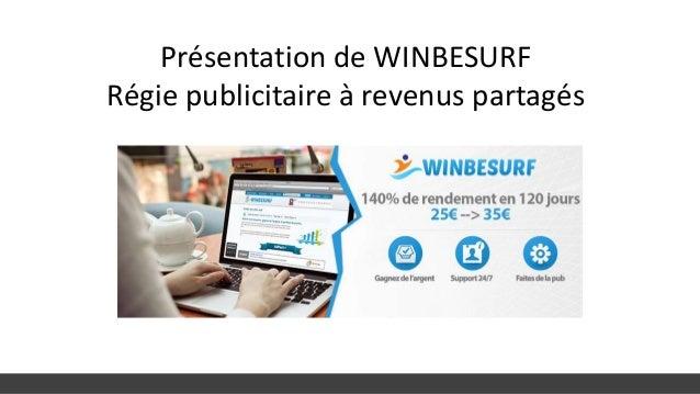 Présentation de WINBESURF Régie publicitaire à revenus partagés