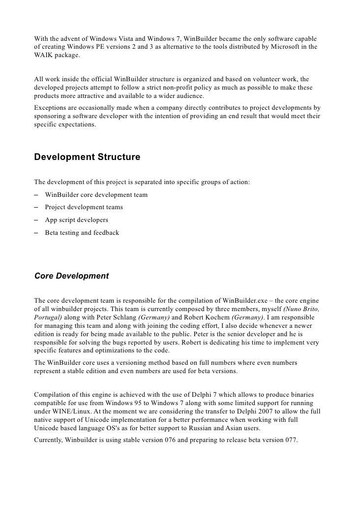 Explaining the WinBuilder framework