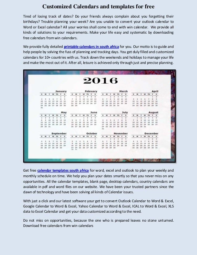 Win Calendar Customized Calendars And Templates For Free