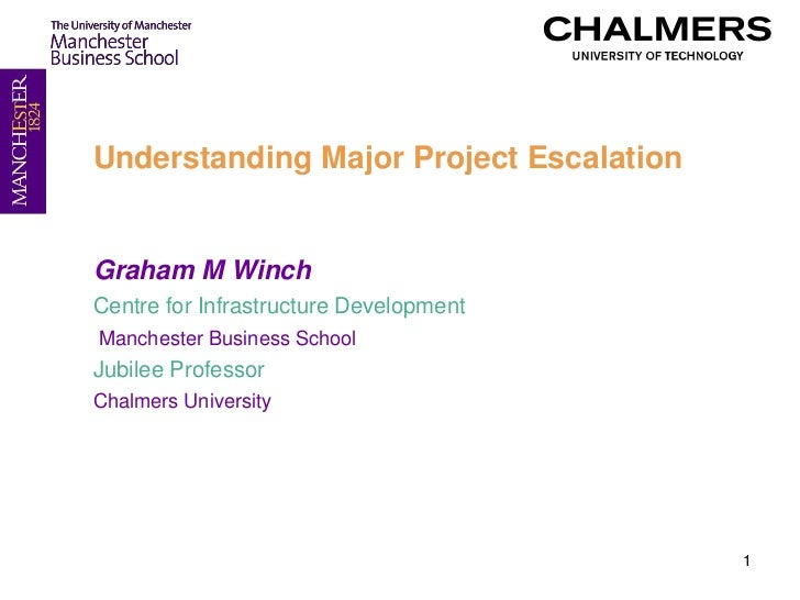 Understanding Major Project EscalationGraham M WinchCentre for Infrastructure DevelopmentManchester Business SchoolJubilee...