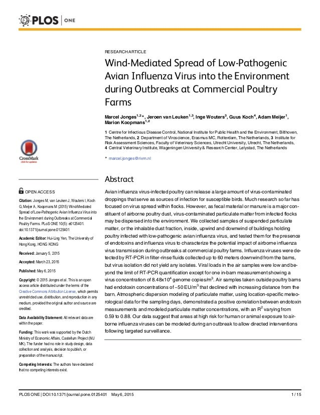 RESEARCH ARTICLE Wind-Mediated Spread of Low-Pathogenic Avian Influenza Virus into the Environment during Outbreaks at Com...