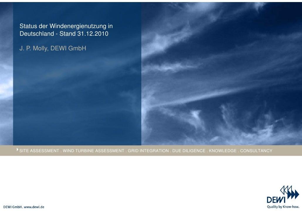 Status der Windenergienutzung inDeutschland - Stand 31.12.2010J. P. Molly, DEWI GmbHSITE ASSESSMENT . WIND TURBINE ASSESSM...