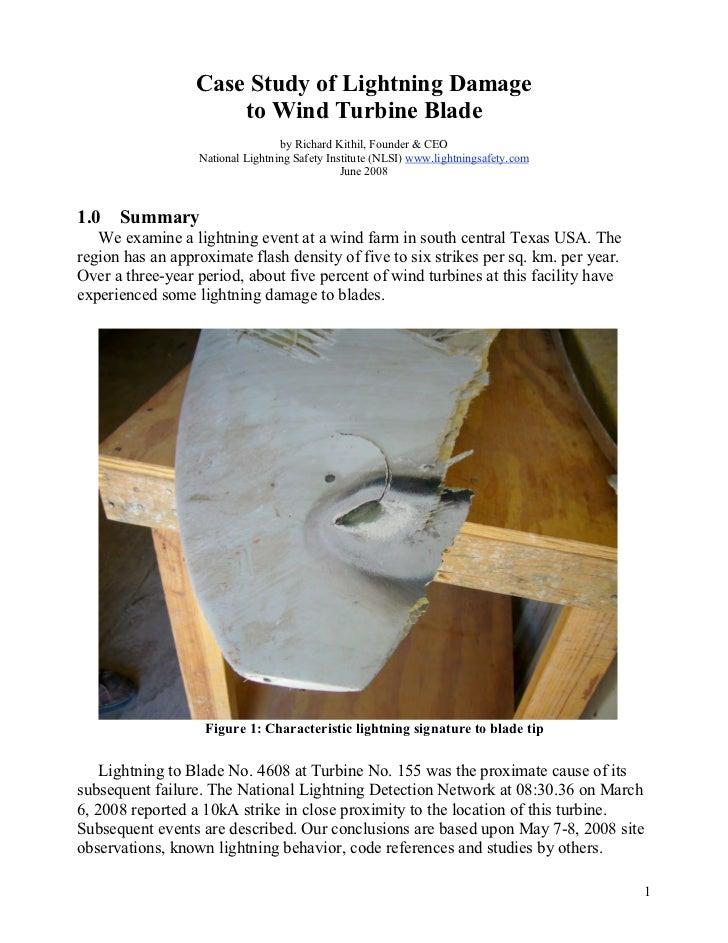 Case Study of Lightning Damage                      to Wind Turbine Blade                                  by Richard Kith...