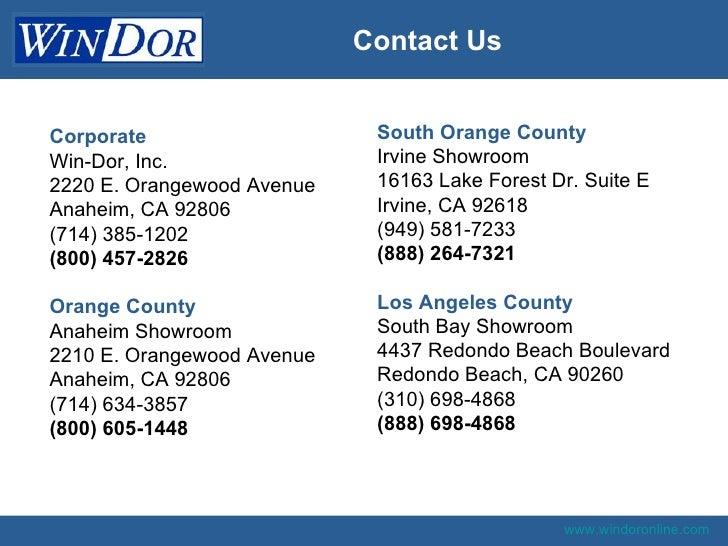 Win Dor Southern California Vinyl Replacment Window Company