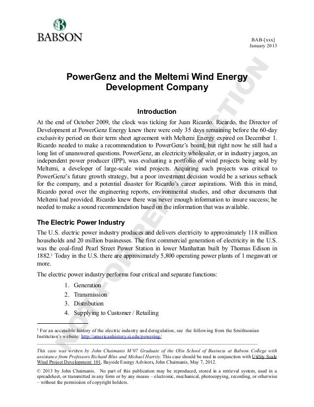 PowerGenz and the Meltemi Wind Energy Development Company Introduction At the end of October 2009, the clock was ticking f...