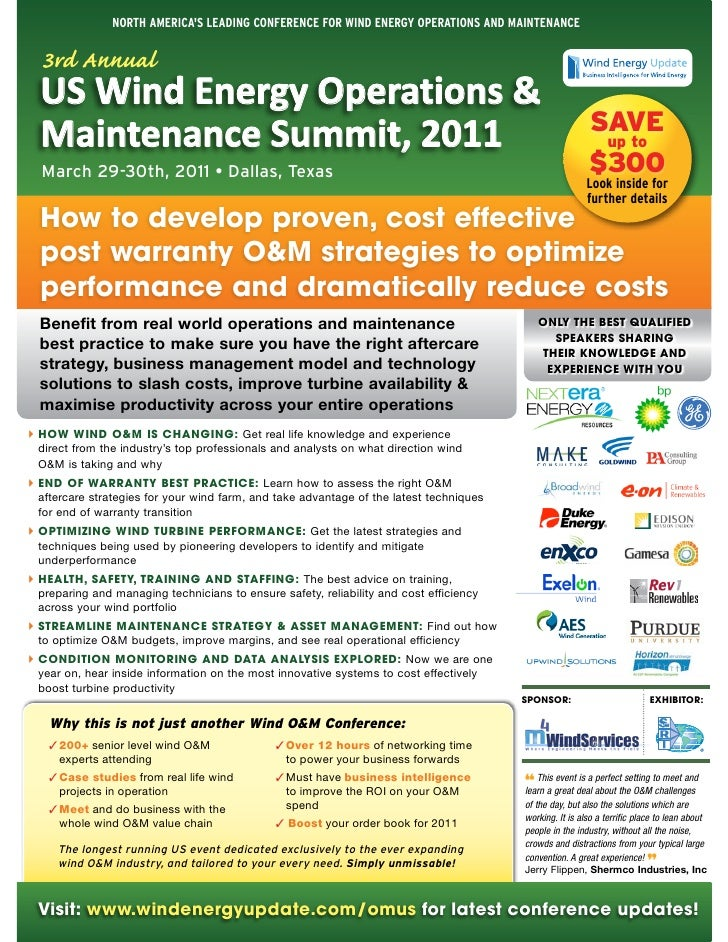 North AmericAs LeAdiNg coNfereNce for WiNd eNergy operAtioNs ANd mAiNteNANce  3rd Annual  US Wind Energy Operations &     ...