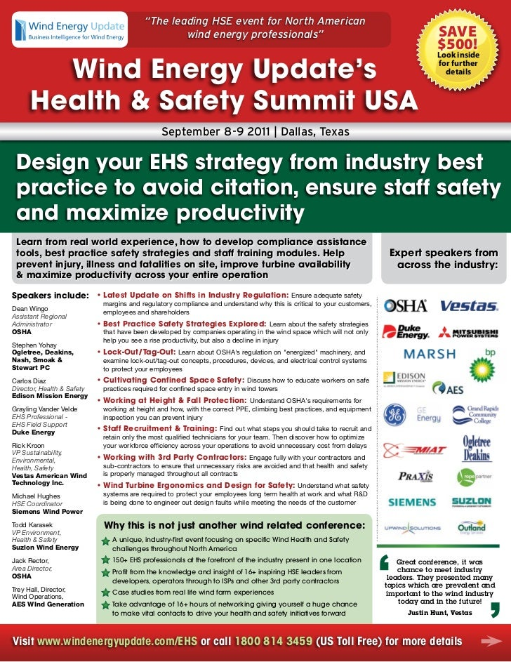 """""""The leading HSE event for North American                                                   wind energy professionals""""    ..."""