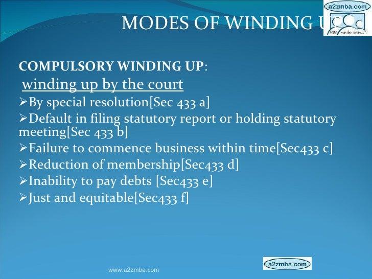 <ul><li>MODES OF WINDING UP </li></ul><ul><li>COMPULSORY WINDING UP : </li></ul><ul><li>winding up by the court </li></ul>...