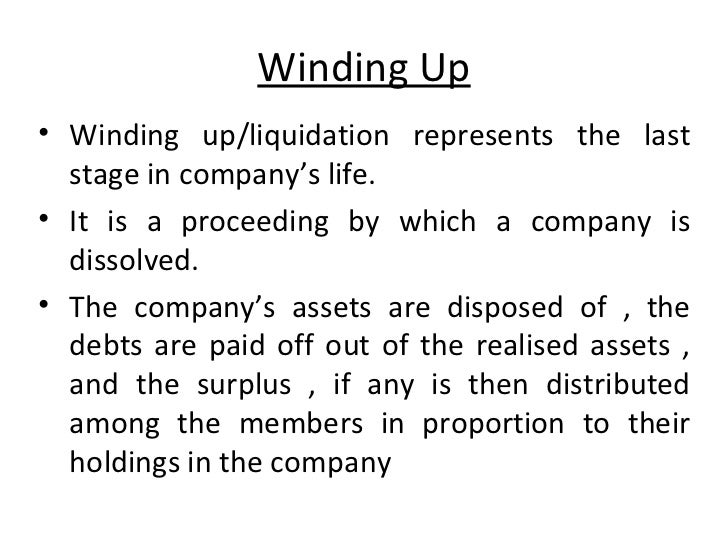 Liquidating a company with debts definition