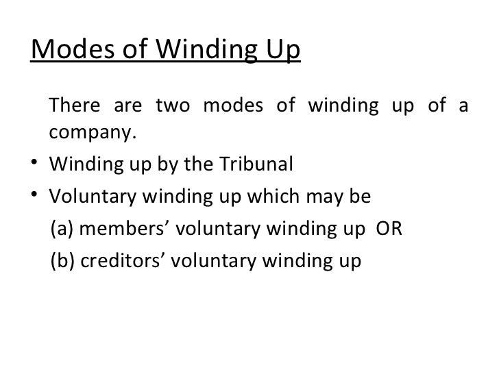 winding up of a company Legalvision practice leader james douglas asks what is a creditors' voluntary winding up, explains the process & how it differs from a members' winding up.