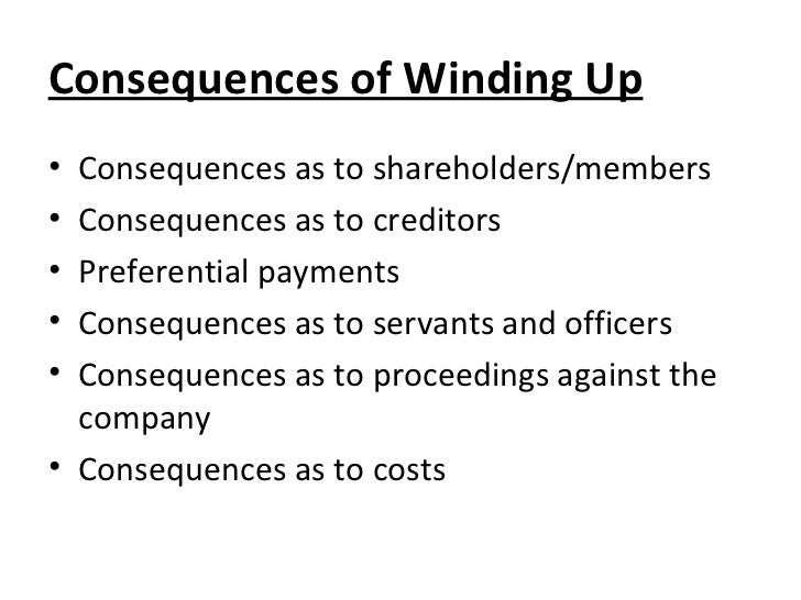 consequences of winding up order under companies act 2013