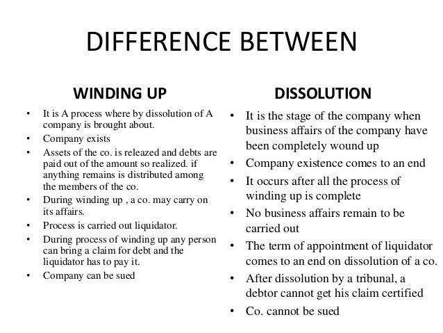 """winding up of a company """"winding up is a means by which the dissolution of a company is brought about  and its assets are realised and applied in the payment of its."""