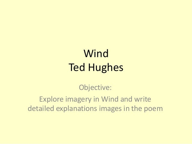 analysis of ted hughess poem wind 'wind' - ted hughes structure & sound imagery structure the poem is in chronological order this is quite important as the first three stanzas each indicate a particular time: all night the day rose at noon.