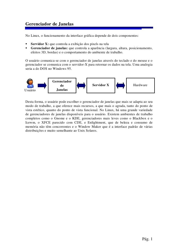 Gerenciador de Janelas  No Linux, o funcionamento da interface gráfica depende de dois componentes:     Servidor X: que co...