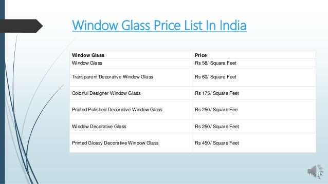 Window Glass Price List Ppt
